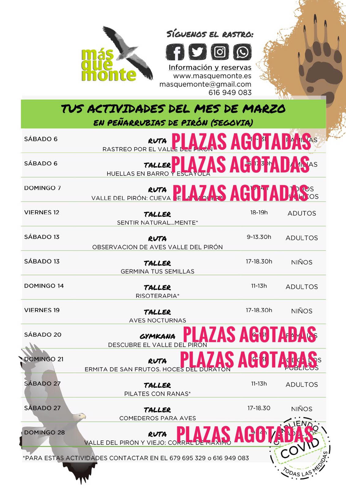Last places in the activities of Más que Monte